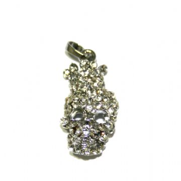 1 x 30*11mm rhodium plated skull head with rhinestone - S.A - 3000039